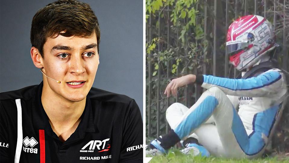 George Russell (pictured left) during a media conference and (pictured right) after crashing out of the F1 on the weekend.