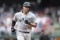 New York Yankees' Gary Sanchez (24) rounds the bases after hitting a home run during the second inning of a baseball game against the Philadelphia Phillies, Saturday, June 12, 2021, in Philadelphia. (AP Photo/Laurence Kesterson)