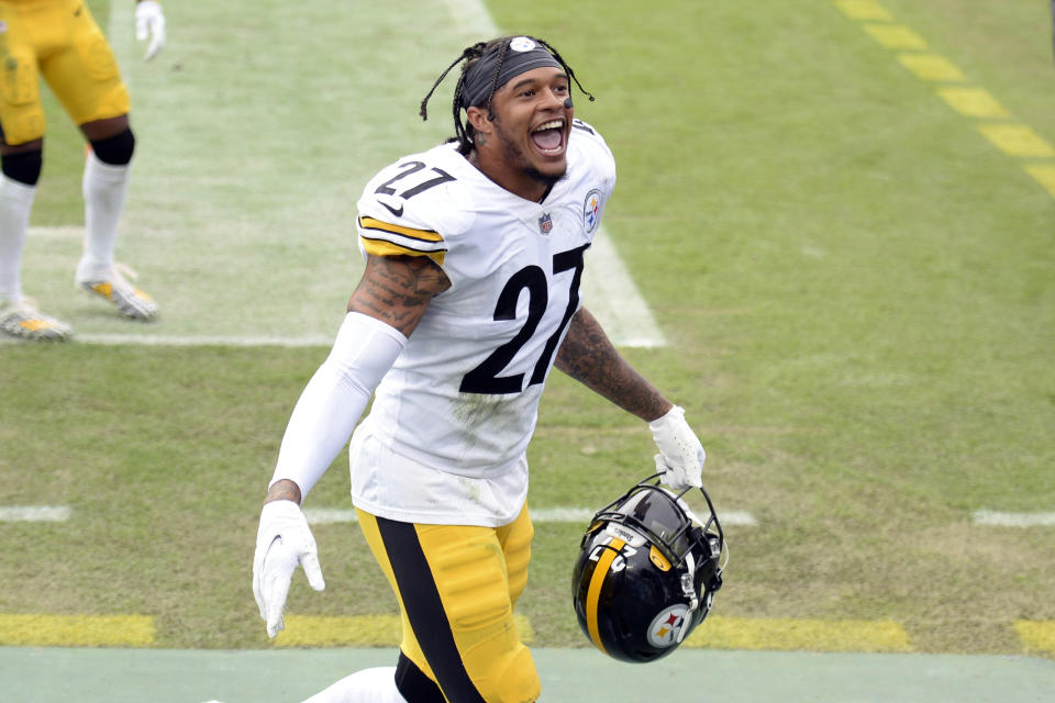 Pittsburgh Steelers safety Marcus Allen (27) leaves the field after an NFL football game against the Tennessee Titans Sunday, Oct. 25, 2020, in Nashville, Tenn. The Steelers won 27-24. (AP Photo/Mark Zaleski)