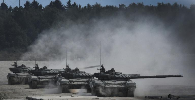 Moscow says the drills involve 12,700 troops, 70 aircraft, 250 tanks and 10 battleships testing their firepower against an imaginary foe close to borders with Poland and the Baltic States