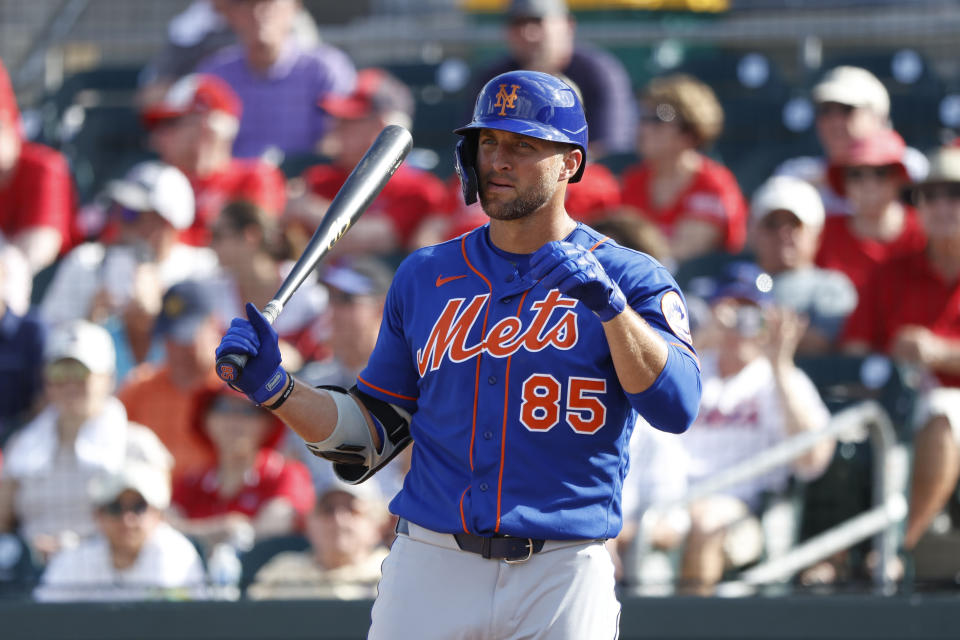 JUPITER, FL - MARCH 05: Tim Tebow #85 of the New York Mets looks on while stepping up to bat against the St Louis Cardinals in the eighth inning of a Grapefruit League spring training game on March 5, 2020 in Jupiter, Florida. The game ended in a 7-7 tie. (Photo by Joe Robbins/Getty Images)