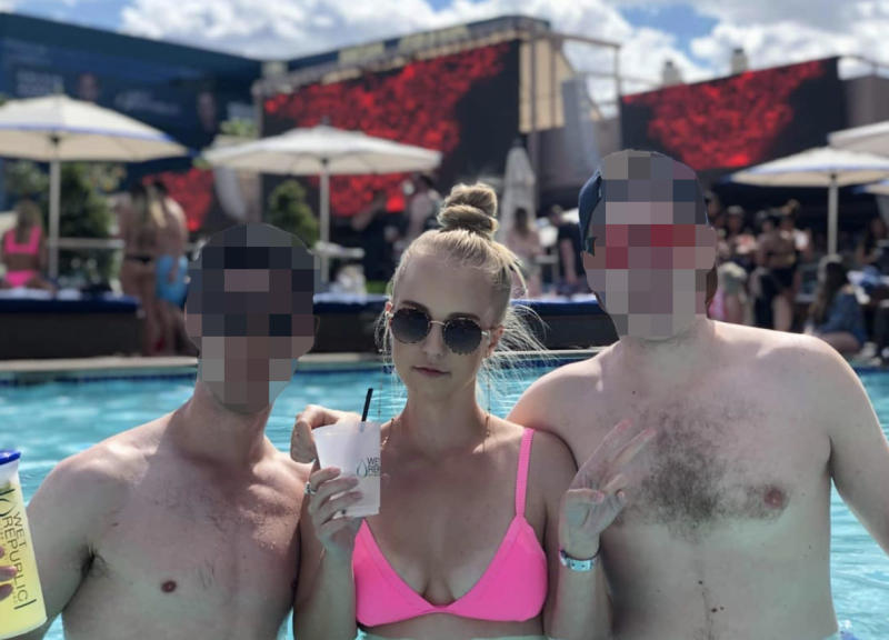 Michaela Dunn in a pool with two friends in Las Vegas.