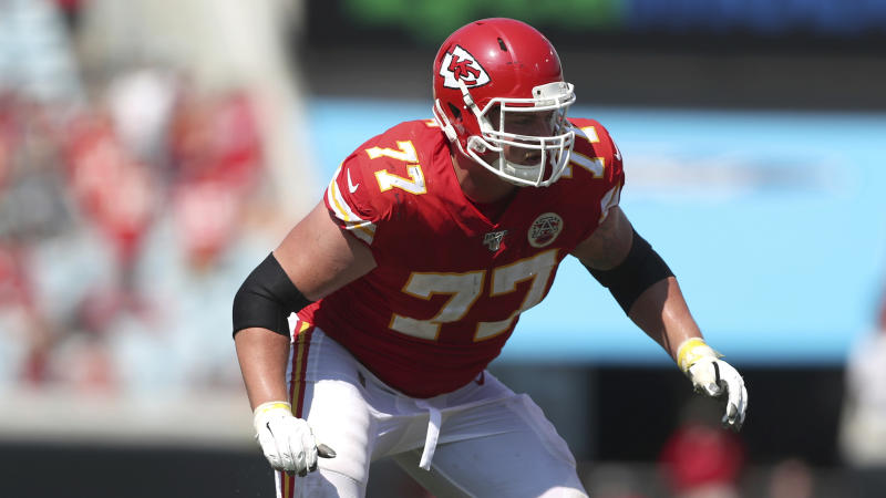 Kansas City Chiefs offensive guard Andrew Wylie (77) makes a move to block on the line of scrimmage during an NFL game against the Jacksonville Jaguars in 2019.