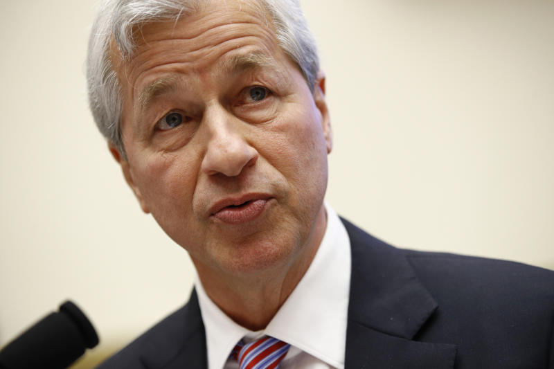 JPMorgan Chase chairman and CEO Jamie Dimon testifies before the House Financial Services Committee during a hearing, Wednesday, April 10, 2019, on Capitol Hill in Washington. (AP Photo/Patrick Semansky)