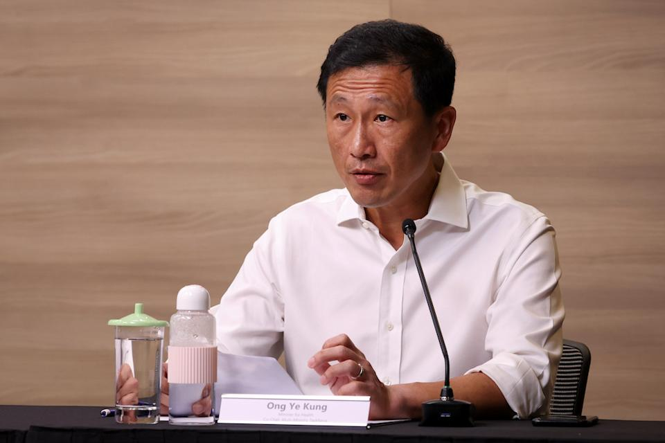Health Minister Ong Ye Kung, who co-chairs a multi-ministry taskforce on COVID-19, addresses reporters at a virtual press conference. (PHOTO: Ministry of Communications and Information)