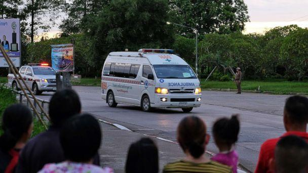 PHOTO: Ambulances transport boys rescued from the cave to Chiangrai Prachanukroh Hospital on July 10, 2018 in Chiang Rai, Thailand. (Lauren DeCicca/Getty Images)