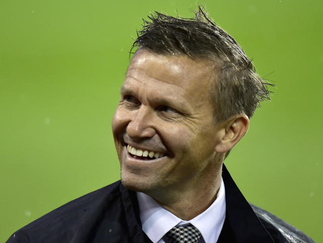 FILE - In this Nov. 5, 2017, file photo, New York Red Bulls head coach Jesse Marsch smiles towards Toronto FC fans during an MLS soccer game in Toronto. Marsch has left the Red Bulls to pursue other opportunities. We are fully supportive of Jesse and his decision to pursue a new opportunity, said Red Bulls Sporting Director Denis Hamlett. The Red Bulls have promoted Chris Armas to head coach, effective immediately, the team said Friday, July 6, 2018. (Frank Gunn/The Canadian Press via AP, File)