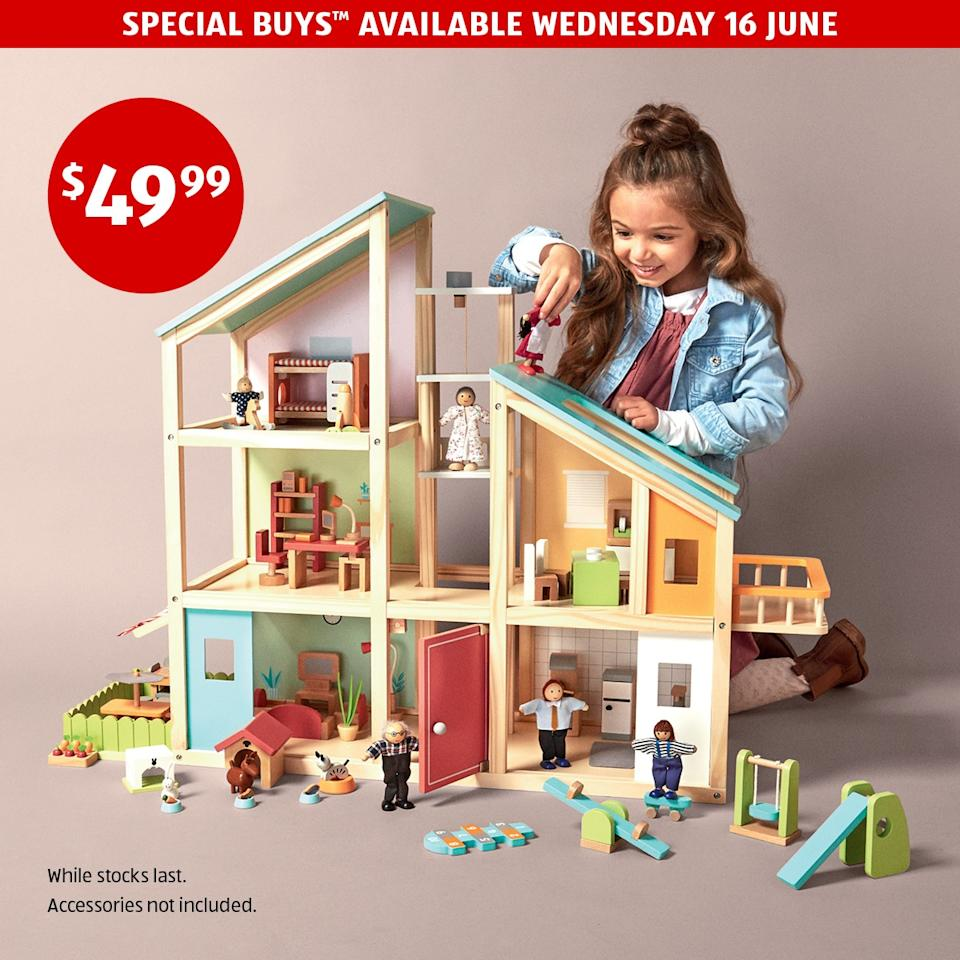 aldi wooden doll house special buy