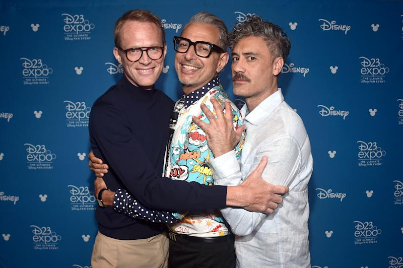 ANAHEIM, CALIFORNIA - AUGUST 23: (L-R) Paul Bettany of 'WandaVision,' Jeff Goldblum of 'The World According To Jeff Goldblum,' and Taika Waititi of 'The Mandalorian' took part today in the Disney+ Showcase at Disney's D23 EXPO 2019 in Anaheim, Calif. 'WandaVision,' 'The World According To Jeff Goldblum,' and 'The Mandalorian' will stream exclusively on Disney+, which launches November 12. (Photo by Alberto E. Rodriguez/Getty Images for Disney)