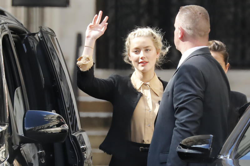Amber Heard leaves after giving evidence at Johnny Depp's libel trial.