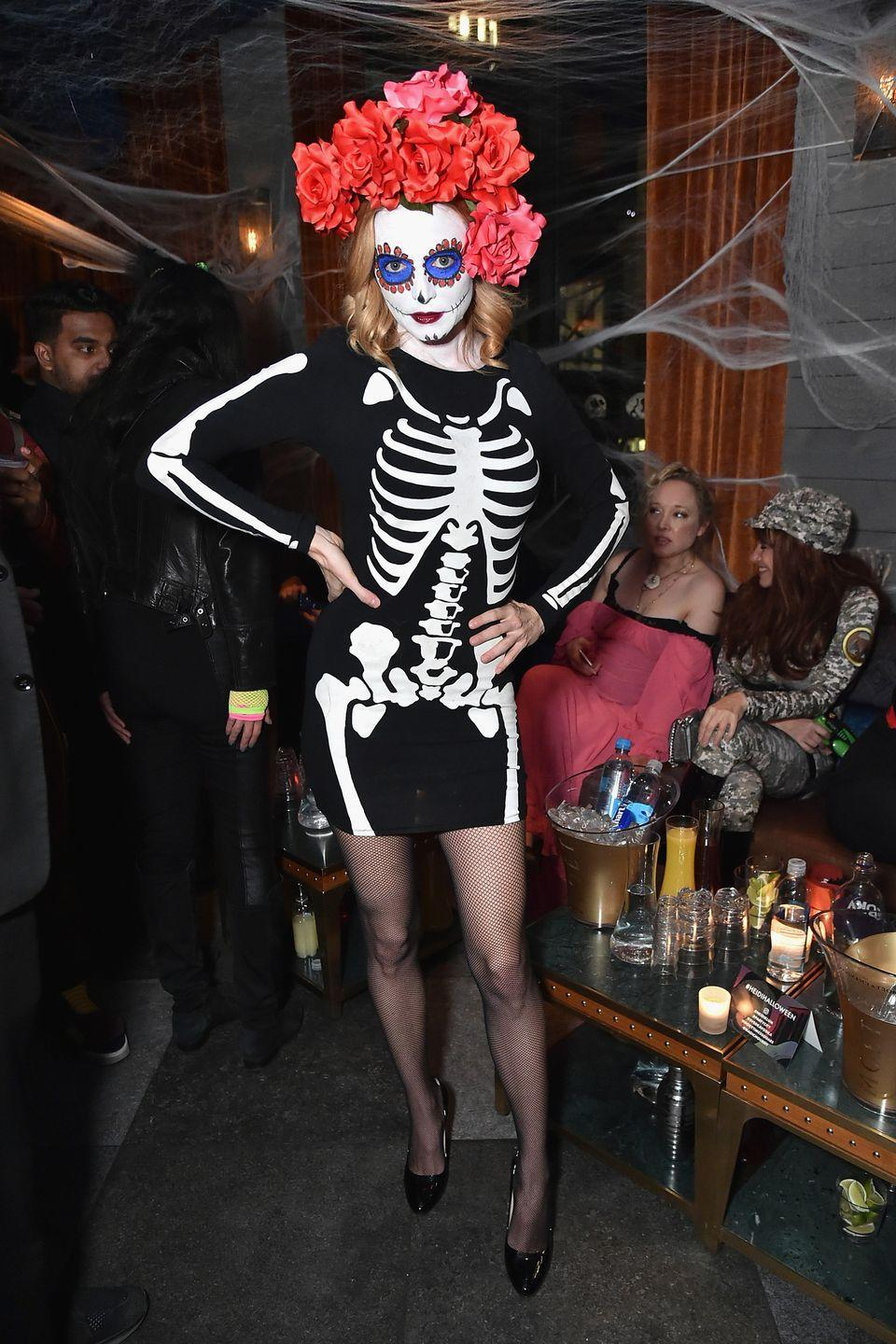 <p>Heather Graham as a Day of the Dead skeleton.</p>