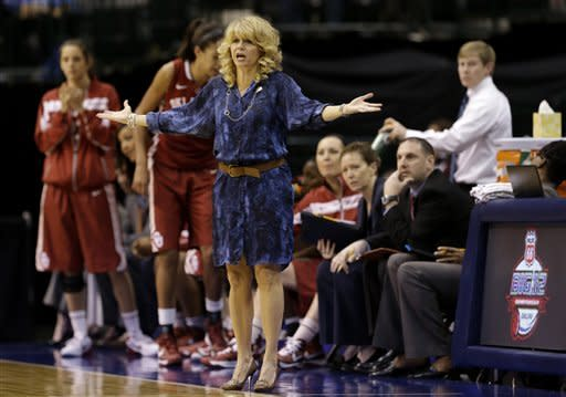 Oklahoma head coach Sherri Coale looks for a foul call against Iowa State late in the second half of an NCAA college basketball game in the Big 12 Conference women's tournament Sunday, March 10, 2013, in Dallas. Iowa State won 79-60. (AP Photo/Tony Gutierrez)