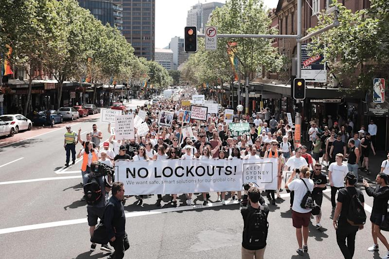 Sydneysiders rally in support of Keep Sydney Open campaign against lockout laws. Image: Getty