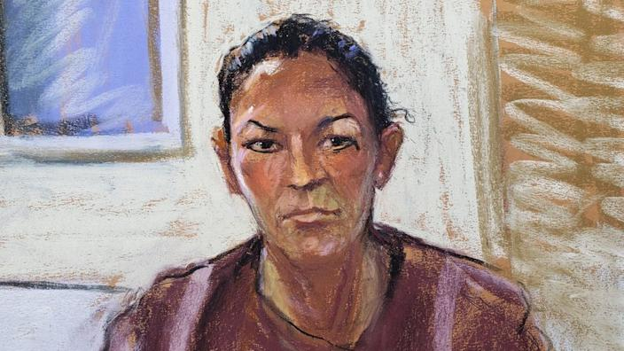 A courtroom sketch of Ghislaine Maxwell, who was denied bail on 14 July
