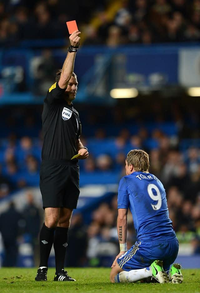 Chelsea's Fernando Torres is sent off for diving by referee Mark Clattenburg (Anthony Devlin/PA)
