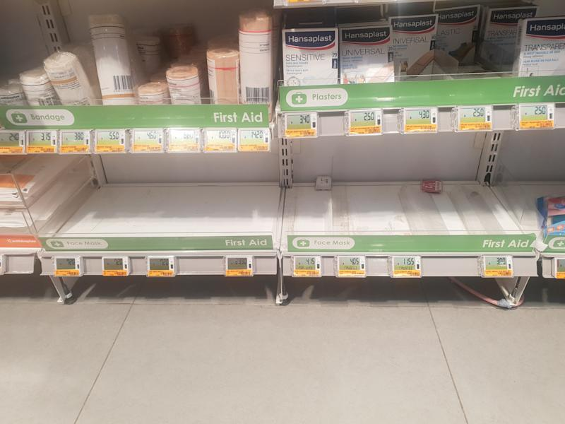 An empty shelf in Guardian which has run of face masks (Photo: Wan Ting Koh/Yahoo News Singapore)