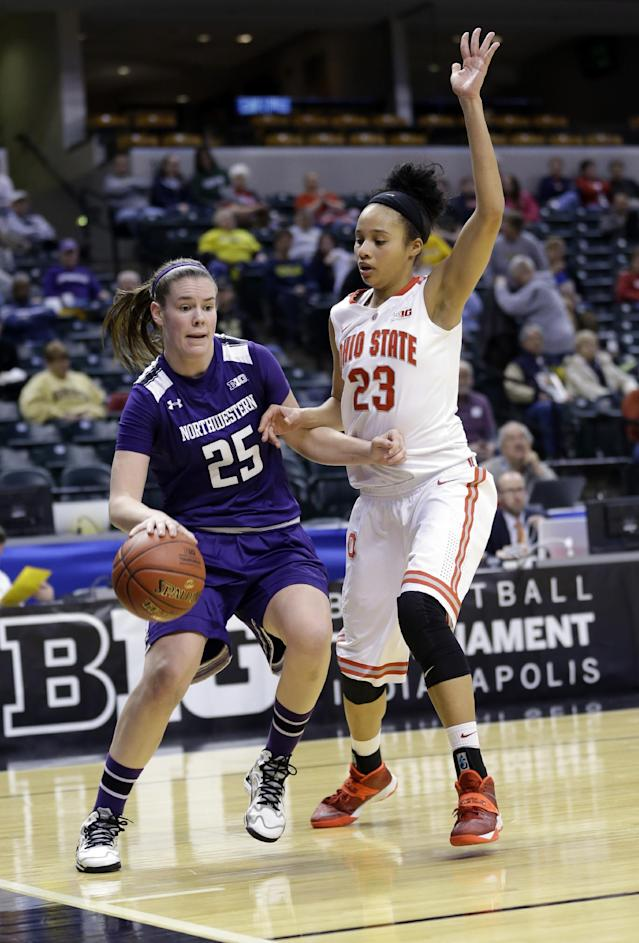 Northwestern guard Maggie Lyon (25) drives past Ohio State forward Martina Ellerbe in the second half of an NCAA college basketball game in the opening round of the Big Ten Tournament in Indianapolis, Ind., Thursday, March 6, 2014. Ohio State defeated Northwestern 86-77. (AP Photo/Michael Conroy)