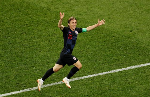Soccer Football - World Cup - Group D - Argentina vs Croatia - Nizhny Novgorod Stadium, Nizhny Novgorod, Russia - June 21, 2018 Croatia's Luka Modric celebrates scoring their second goal REUTERS/Carlos Barria TPX IMAGES OF THE DAY