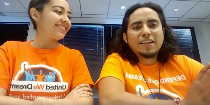 Oscar Hernandez, right, with United We Dream colleague Karla Perez, in a video informing undocumented immigrants about their rights if they're stopped by law enforcement.