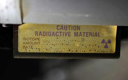 A sign indicating radioactive material is shown in Anaheim, California March 17, 2011.