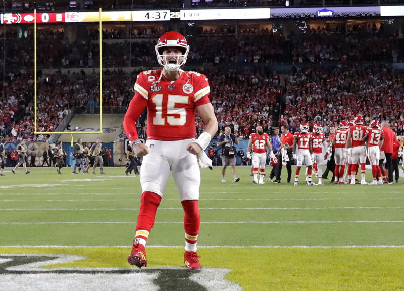 Kansas City Chiefs quarterback Patrick Mahomes (15) scored the first touchdown of Super Bowl LIV. (AP Photo/Wilfredo Lee)