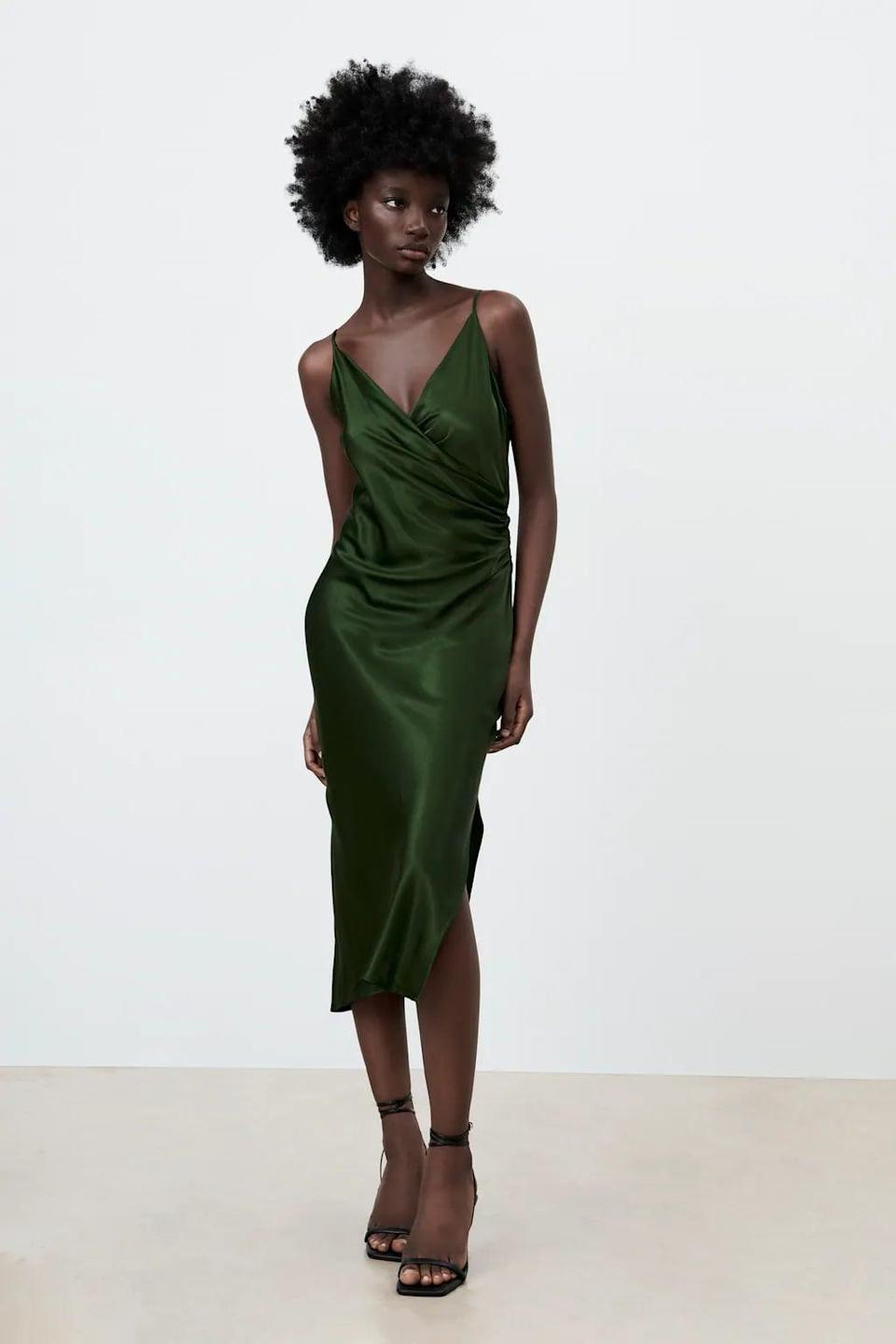 <p>Wear this sexy <span>Zara Draped Lingerie-Style Dress</span> ($50) on date night. It looks chic with heels and lots of layered jewelrt.</p>