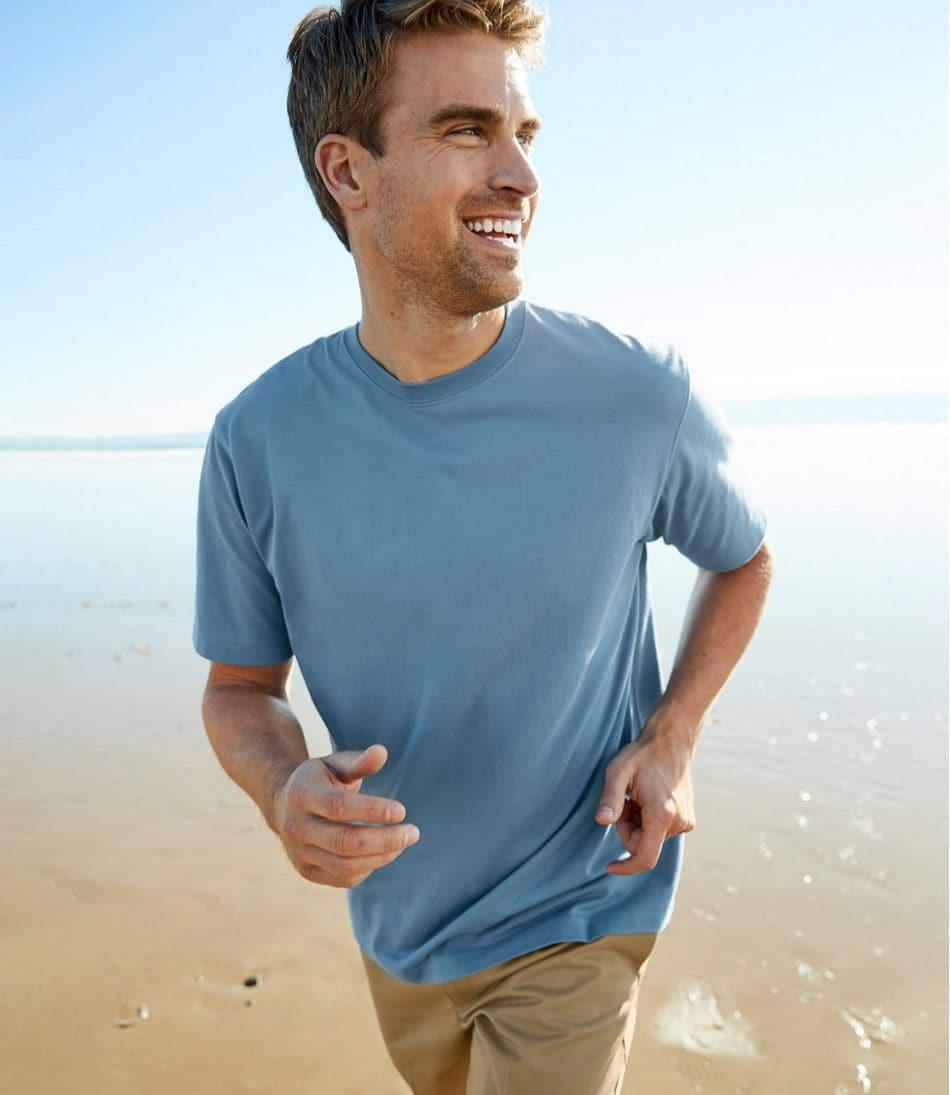 The Men's Carefree Unshrinkable Tee is a hit among shoppers. Image via L.L. Bean.