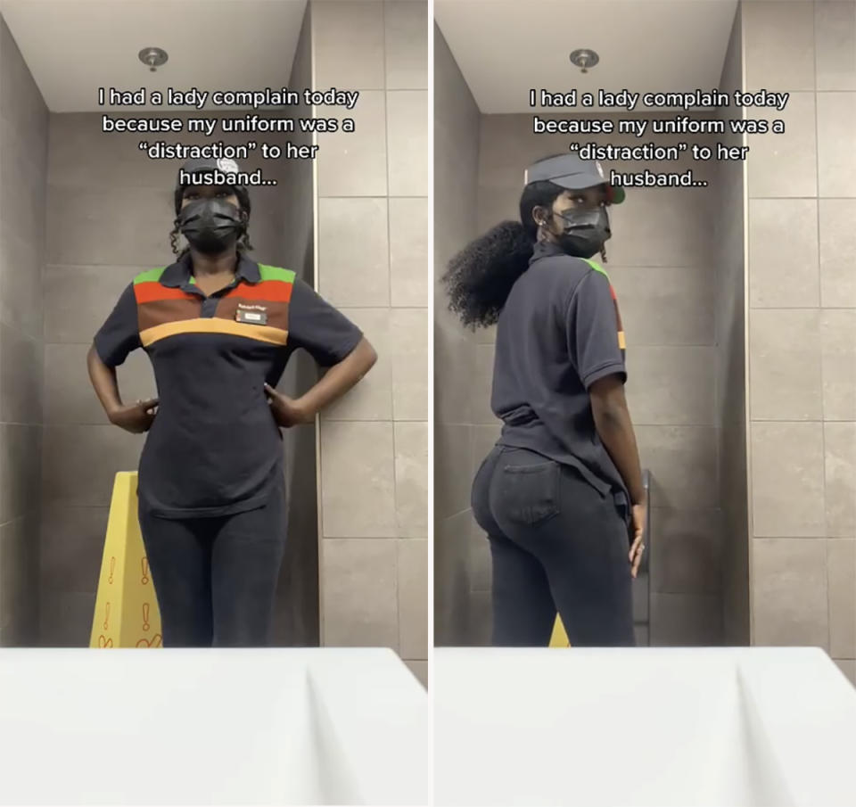 A Burger King worker has slammed a customer who claimed her uniform was