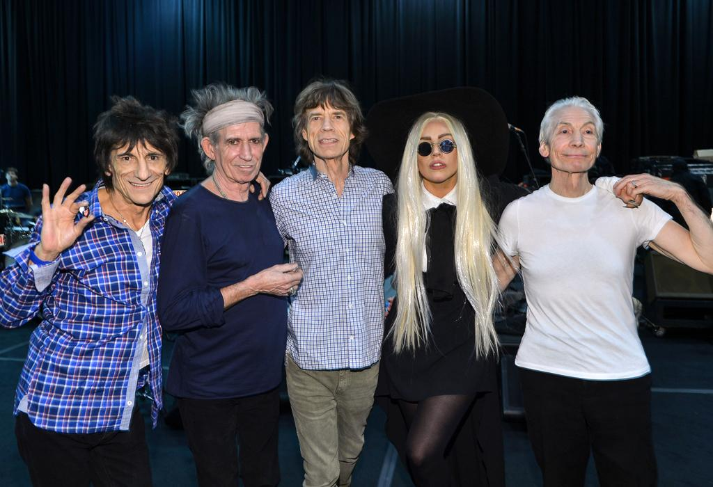 NEW YORK, NY - DECEMBER 14: Ron Wood, Keith Richards, Mick Jagger and Charlie Watts of The Rolling Stones rehearse with their special guest Lady Gaga on December 14, 2012 in New York City in preparation for their pay-per-view concert that will be telecast live worldwide this Saturday, December 15 at 9pm EST and 6pm PST.  (Photo by Larry Busacca/WireImage)