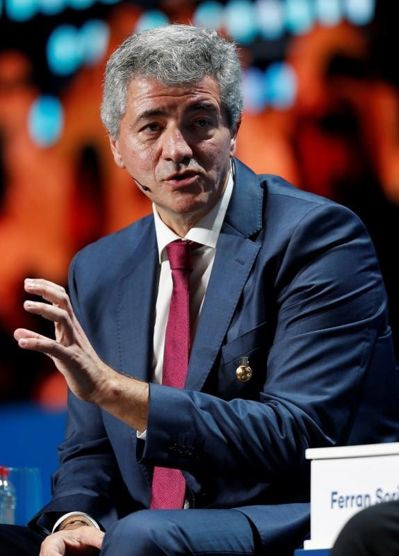 FILE PHOTO: Miguel Angel Gil Marin, CEO of Atletico Madrid gestures during the Dubai International Sports Conference in Dubai