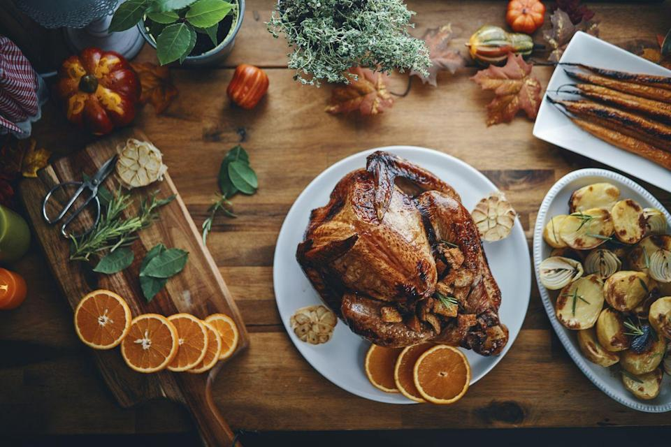 """<p>Perhaps the most obvious of the Thanksgiving activities, cooking dinner (<a href=""""https://www.townandcountrymag.com/leisure/dining/g34426550/best-mail-order-turkeys/"""" rel=""""nofollow noopener"""" target=""""_blank"""" data-ylk=""""slk:including a turkey"""" class=""""link rapid-noclick-resp"""">including a turkey</a>, of course) is both a safe and delicious holiday activity. Whether you're cooking for your immediate family or just for one, crafting the meal is half the fun. Not in the mood to spend all day in the kitchen? <a href=""""https://www.townandcountrymag.com/leisure/dining/g13438943/nyc-restaurants-open-on-thanksgiving/"""" rel=""""nofollow noopener"""" target=""""_blank"""" data-ylk=""""slk:Try a takeout feast"""" class=""""link rapid-noclick-resp"""">Try a takeout feast</a>. </p>"""