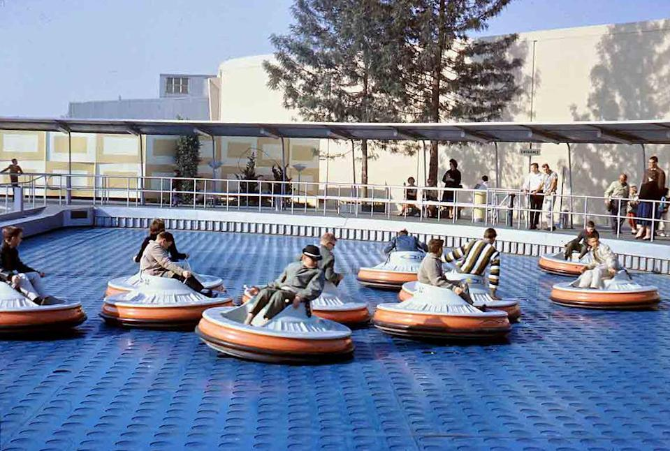 "<p>With UFOs all the rage in the '50s and '60s, Tomorrowland visitors flocked to these personal spacecrafts when they debuted at Disneyland in 1961. The ride's resemblance to an oversized air hockey table <a href=""http://www.yesterland.com/saucers.html"" rel=""nofollow noopener"" target=""_blank"" data-ylk=""slk:has been duly noted"" class=""link rapid-noclick-resp"">has been duly noted</a>, with air valves aiding in the saucers' motion, while also making them <a href=""https://www.youtube.com/watch?v=wdj9tcF3VCA"" rel=""nofollow noopener"" target=""_blank"" data-ylk=""slk:look more like floating saucers"" class=""link rapid-noclick-resp"">look more like floating saucers</a> than flying saucers. By most accounts, the ride was fun, but expensive, and the saucers were decommissioned in 1966. <i><a href=""https://flic.kr/p/oGJQuW"" rel=""nofollow noopener"" target=""_blank"" data-ylk=""slk:(Photo: Tom Simpson/Flickr)"" class=""link rapid-noclick-resp"">(Photo: Tom Simpson/Flickr)</a></i></p><p><br></p>"