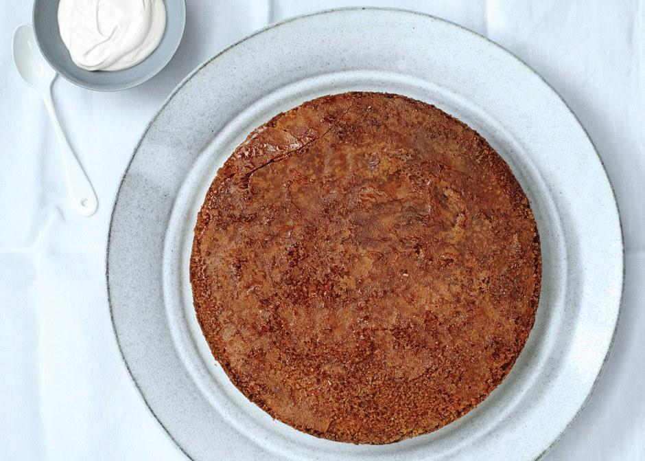 """For a moist cake, be sure to use finely ground polenta labeled """"quick-cooking"""" or """"instant""""; cooking times listed on the package will be five minutes or less. <a href=""""https://www.bonappetit.com/recipe/brown-butter-polenta-cake-with-maple-caramel?mbid=synd_yahoo_rss"""" rel=""""nofollow noopener"""" target=""""_blank"""" data-ylk=""""slk:See recipe."""" class=""""link rapid-noclick-resp"""">See recipe.</a>"""