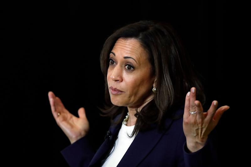 Democratic presidential candidate Sen. Kamala Harris, D-Calif., speaks during a town hall for the American Federation of Teachers in Detroit, May 6, 2019. (AP Photo/Paul Sancya)