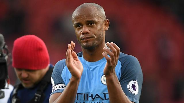 Manchester City captain Vincent Kompany scored his first Premier League goal for 20 months in a 3-0 win at Southampton.