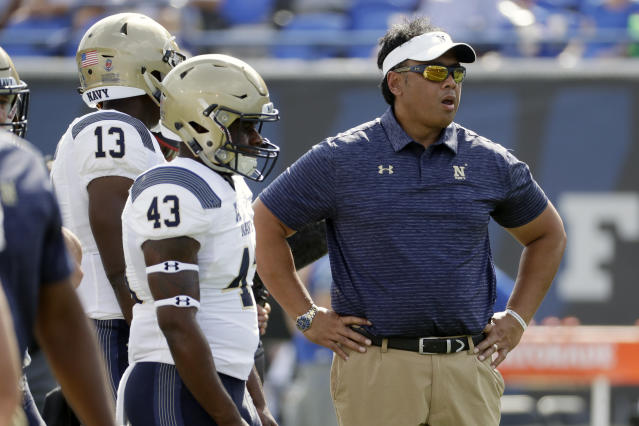 Navy head coach Ken Niumatalolo made a gutsy coaching decision against SMU. (AP Photo/Mark Humphrey, File)