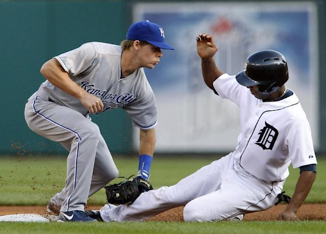 Kansas City Royals second baseman Chris Getz tags out Detroit Tigers' Austin Jackson trying to steal second base in the first inning during the second game of a doubleheader baseball game, Friday, Aug. 16, 2013, in Detroit. (AP Photo/Duane Burleson)