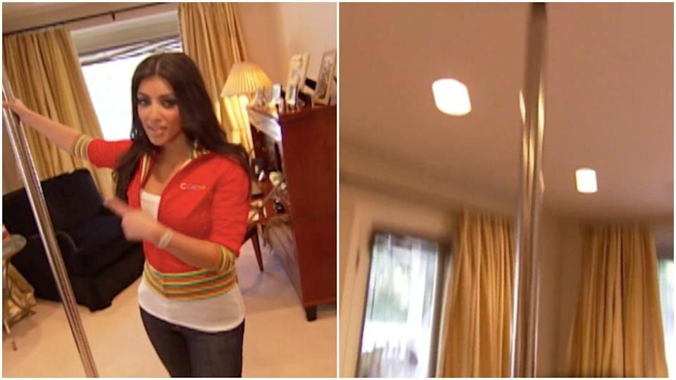 <p>Everyone please meet Kim Kardashian's stripper pole, a very regular thing to have installed in one's bedroom. </p>