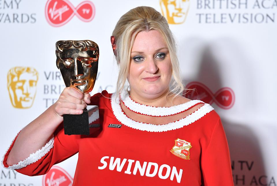LONDON, ENGLAND - MAY 13:  Daisy May Cooper with the award for Scripted Comedy for 'This Country', poses in the press room during the Virgin TV British Academy Television Awards at The Royal Festival Hall on May 13, 2018 in London, England.  (Photo by Samir Hussein/WireImage)
