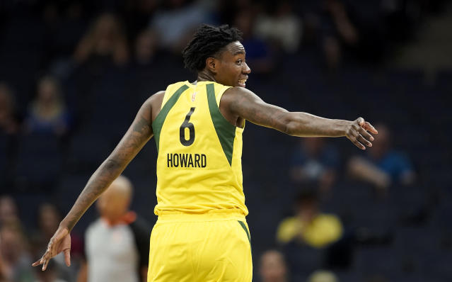 "<a class=""link rapid-noclick-resp"" href=""/wnba/players/5191/"" data-ylk=""slk:Natasha Howard"">Natasha Howard</a> dropped a career-high 33 points on Wednesday night for the Storm, just one day after she denied multiple domestic abuse allegations made against her. (Leila Navidi/Star Tribune via AP)"