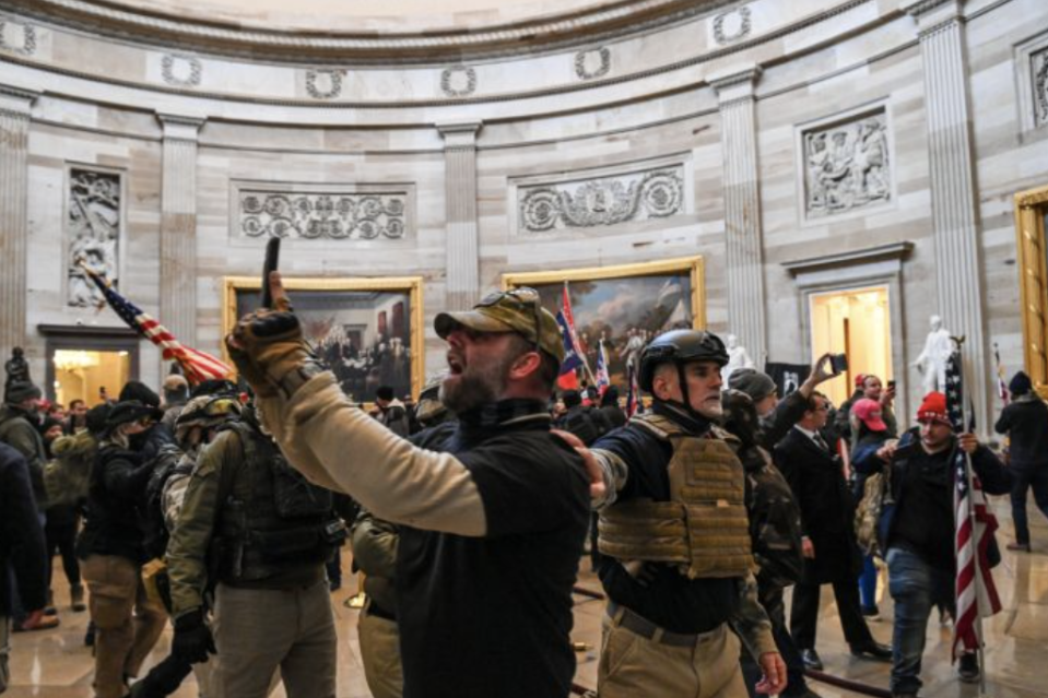 Trump supporters in the Capitol Rotunda. (Saul Loeb/AFP via Getty Images)