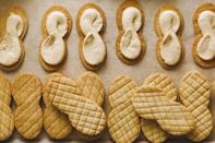 "Made with equal parts butter and peanut butter, these shortbread wafers are ultra-crunchy and salty-sweet—perfect for sandwiching with whipped peanut butter cream. <a href=""https://www.epicurious.com/recipes/food/views/nutter-butter-cookies?mbid=synd_yahoo_rss"" rel=""nofollow noopener"" target=""_blank"" data-ylk=""slk:See recipe."" class=""link rapid-noclick-resp"">See recipe.</a>"