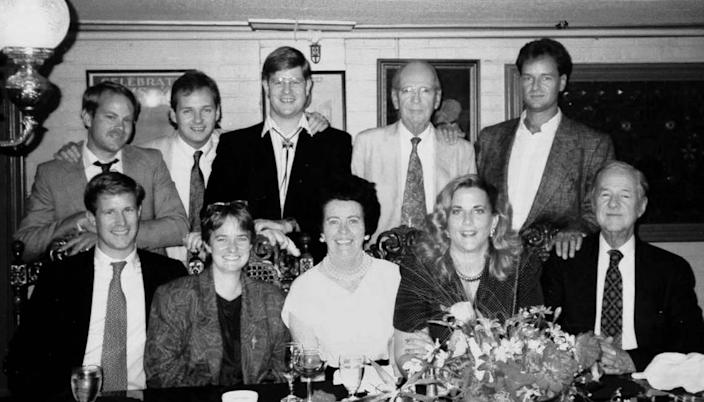 Members of the fourth and fifth generations fo the McClatchy family gather at the Fire House Restaurant in Old Sacramento in 1990. Back row: Brown Maloney, William McClatchy, Charles McClatchy, William Ellery McClatchy, Carlos McClatchy. Front row: Kevin McClatchy, Adair McClatchy, Betty Maloney, Molly Maloney Evangelisti, James B. McClatchy.