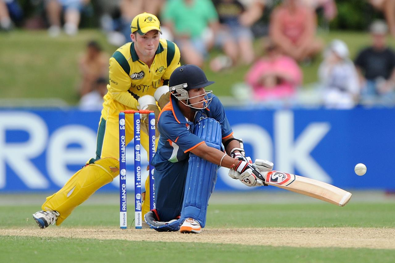 TOWNSVILLE, AUSTRALIA - AUGUST 26:  Smit Patel of India bats during the 2012 ICC U19 Cricket World Cup Final between Australia and India at Tony Ireland Stadium on August 26, 2012 in Townsville, Australia.  (Photo by Matt Roberts/Getty Images)