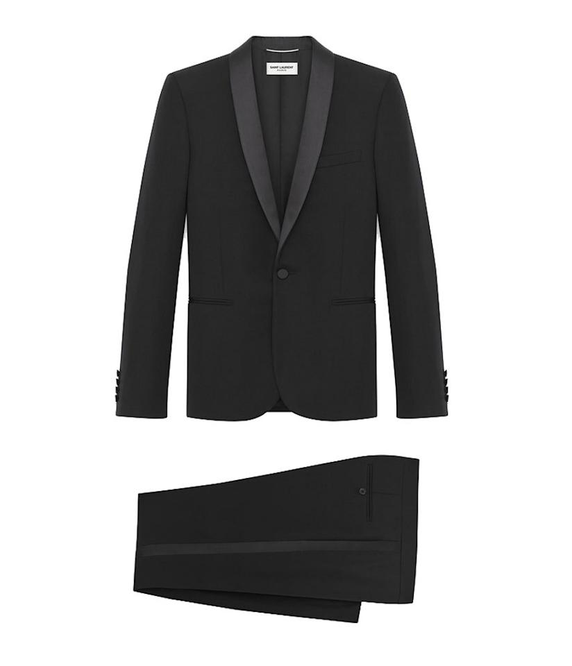 "<p>$3,750, <a href=""http://www.ysl.com/us/shop-product/men/ready-to-wear-suits-iconic-le-smoking-suit-in-black-grain-de-poudre-textured-virgin-wool_cod40121496lq.html#section=men_rtw_blazer_and_suits"">ysl.com</a></p>"