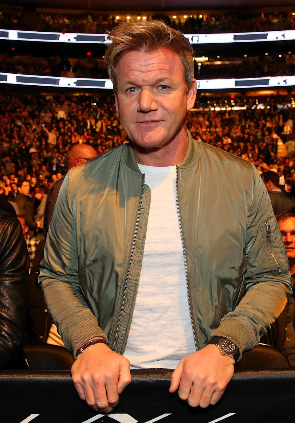 <p>Celebrity Chef Gordan Ramsey looks on during the women's bantamweight bout between Miesha Tate of the United States and Raquel Pennington of the United States during the UFC 205 event at Madison Square Garden on November 12, 2016 in New York City. (Photo by Mike Stobe/Zuffa LLC/Zuffa LLC via Getty Images) </p>
