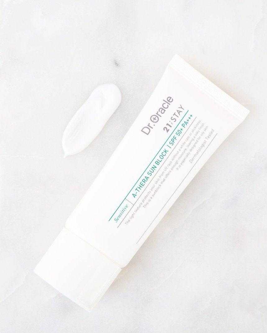 """<h3>Dr. Oracle A-Thera Sunblock SPF 50</h3> <br>Oily-skinned folks, this one's for you: bamboo water-infused sun lotion that won't clog pores or break you out — and, instead, will balance your sebum levels for happy, healthy skin.<br><br><strong>Fan-Following Says</strong>: """"I really love this sunblock. There is no white residue left on your face, it feels really nice and moisturizing, it actually leaves my whole face looking fresh and even looking toned somehow, and it layers well with makeup. It's the best sunscreen I think I've ever had. Also, I have extremely sensitive and very combination skin so that makes it even better!""""<br><br><br><strong>Dr. Oracle</strong> A-Thera Sunblock SPF 50, $, available at <a href=""""https://go.skimresources.com/?id=30283X879131&url=https%3A%2F%2Ffave.co%2F39leyDP"""" rel=""""nofollow noopener"""" target=""""_blank"""" data-ylk=""""slk:Soko Glam"""" class=""""link rapid-noclick-resp"""">Soko Glam</a><br><br><br><br>"""