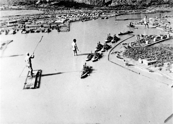 <p>A model made for a Japanese propaganda film on the Pearl Harbor raid, showing ships located as they were during the Dec. 7, 1941, attack, is seen in a photograph brought back to the U.S. from Japan at the end of World War II by Rear Admiral John Shafroth. (U.S. Naval History and Heritage Command/Handout via Reuters) </p>