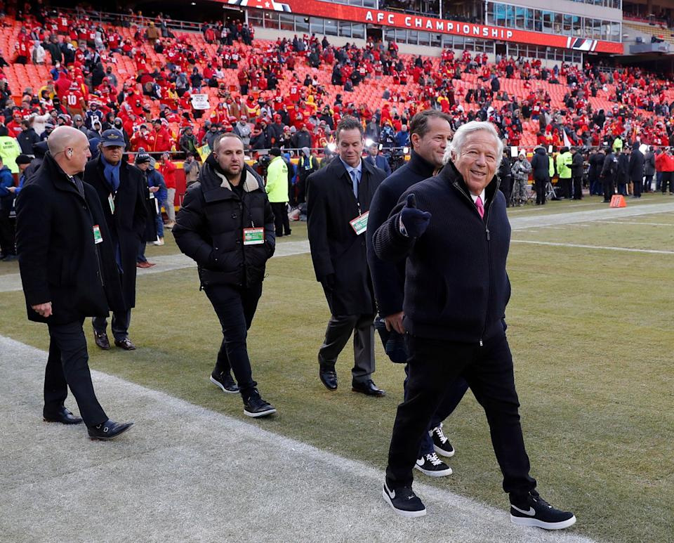 According to police, New England Patriots owner Robert Kraft, right, was at the Orchids of Asia massage parlor in Florida on the morning of the AFC championship game, which was played later that day in Kansas City. (AP)