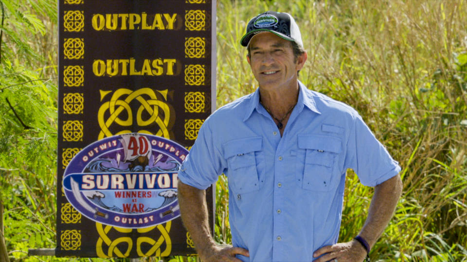 Jeff Probst on the three-hour season finale episode of SURVIVOR: WINNERS AT WAR. (Photo by CBS via Getty Images)